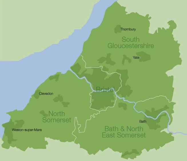 Map showing the area covered by Avon Garden's Trust - North Somerset, Bath & North East Somerset, South Gloucestershire and Bristol
