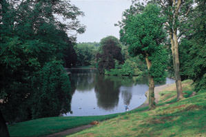 The lake at Eastville Park: designed on picturesque principles and still a favourite location for boating.