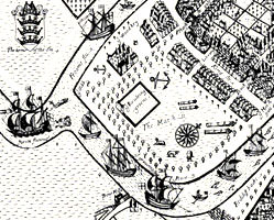 The formal walks and bowling green on the Marsh, as recorded in Millerd's 1673 map of Bristol.