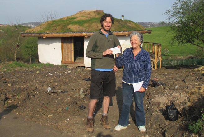 AGT Education Officer Cynthia Troup presents a cheque to Ben Carpenter from Community Space Challenge (photo: Andrew Troup)