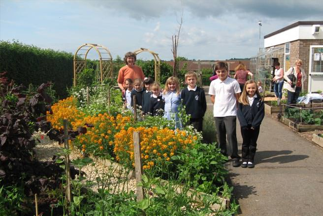 The rainbow garden at Paulton Primary School