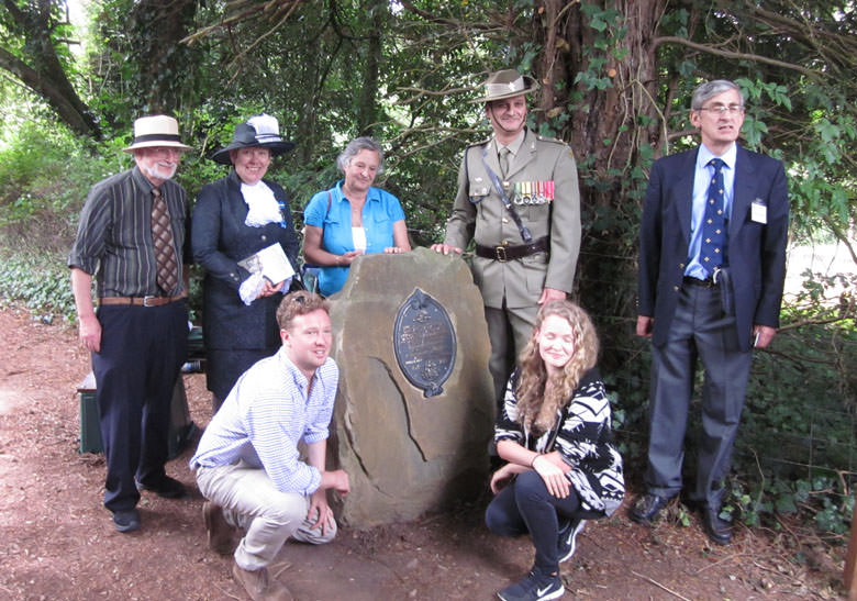 The plaque with (from left) Bev Knott, Helen Wilde, Tessa Kerry (granddaughter of Mr&Mrs Bush), Lt Colonel Arthur Tsamis (Australian Defence Staff), Chris Stephens as well as two Bush great grandchildren