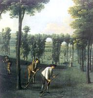 Gardeners at work, from a painting by Balthassar Nebot