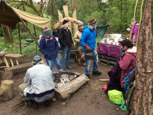 The camp fire at Tortworth Open Day April 2018